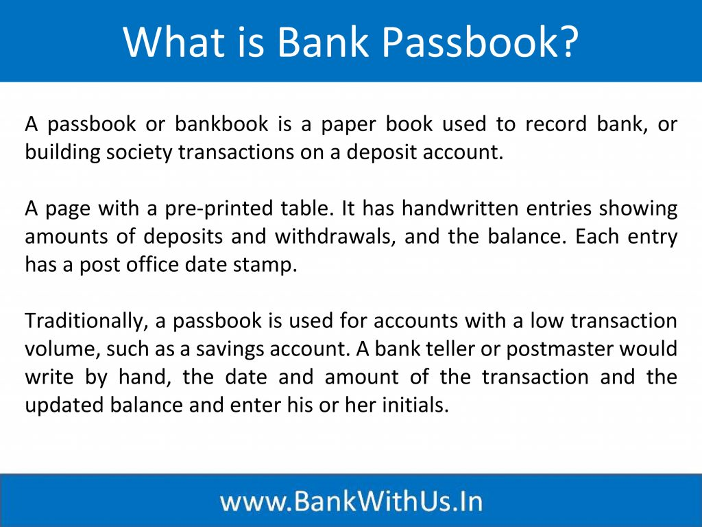What is Bank Passbook?