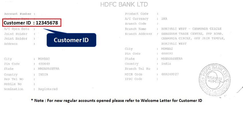 Customer ID Printed on the First Page of HDFC Bank Passbook