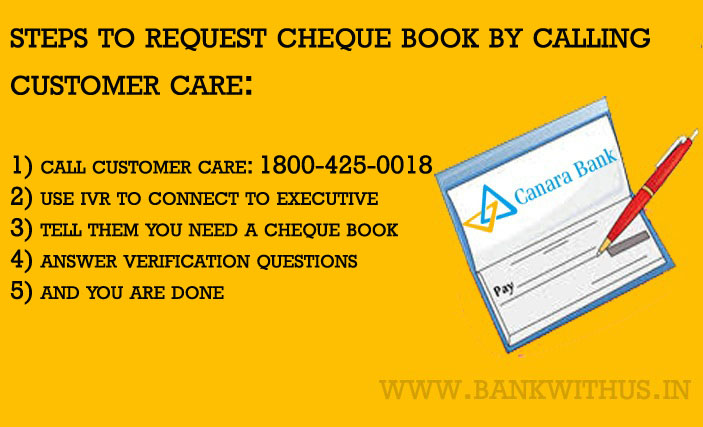 Requesting Cheque Book by Calling Canara Bank Customer Care