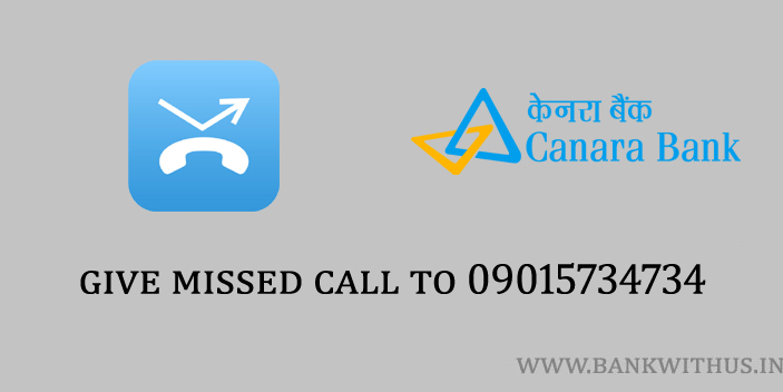Canara Bank Mini Statement by Missed Call