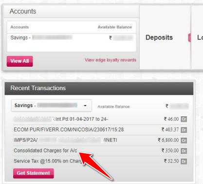 Consolidated Account Charges in Axis Bank