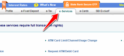 e-services of SBI Internet Banking