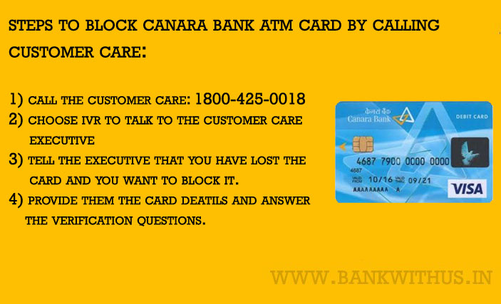 Block Canara Bank ATM Card by Calling the Customer Care