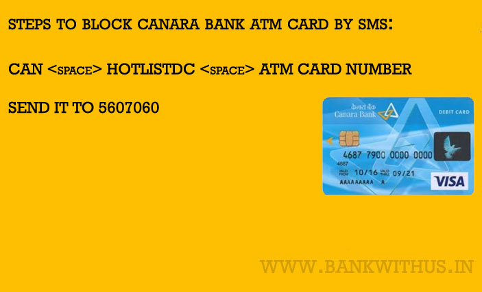 Block Canara Bank ATM Card by Sending SMS