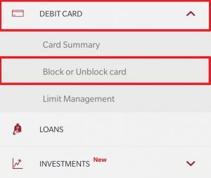 Click on Block or Unblock Debit Card