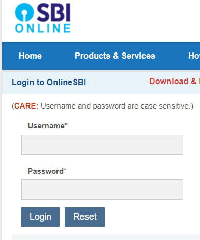 Login to Internet Banking Account