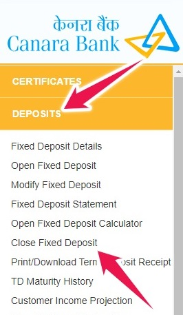 Click on Close Fixed Deposit