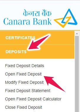 Click on Open Fixed Deposit