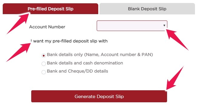 Click on Pre-filled Deposit Slip and Choose Account Number