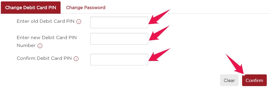 Enter New Debit Card PIN and Click on Confirm