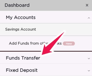 Click on Funds Transfer