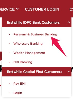 Click on Personal and Business Banking