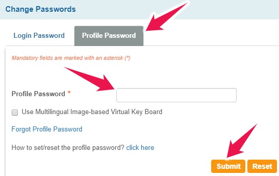 Click on Profile Password and Enter the Old one