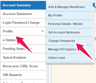 Click on Profile and then on Change Passwords