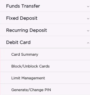 Debit Card Section of IDFC First Bank Internet Banking