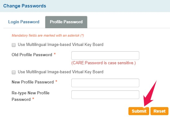 Enter New Profile Password and Click on Submit