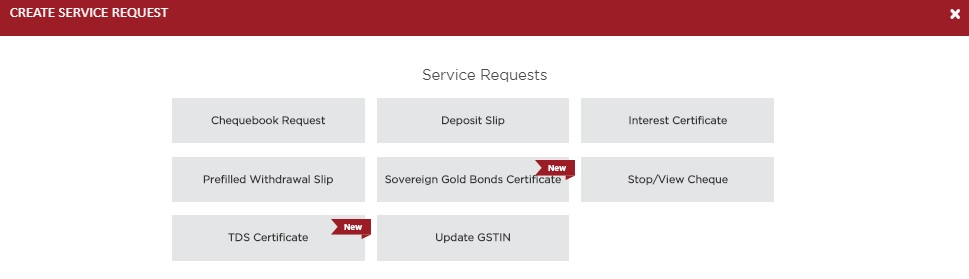 Service Requests Section of IDFC First Bank Internet Banking