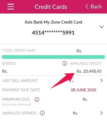 axis bank credit card limit check no