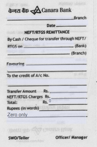 Left Section of Canara Bank NEFT or RTGS Application Form