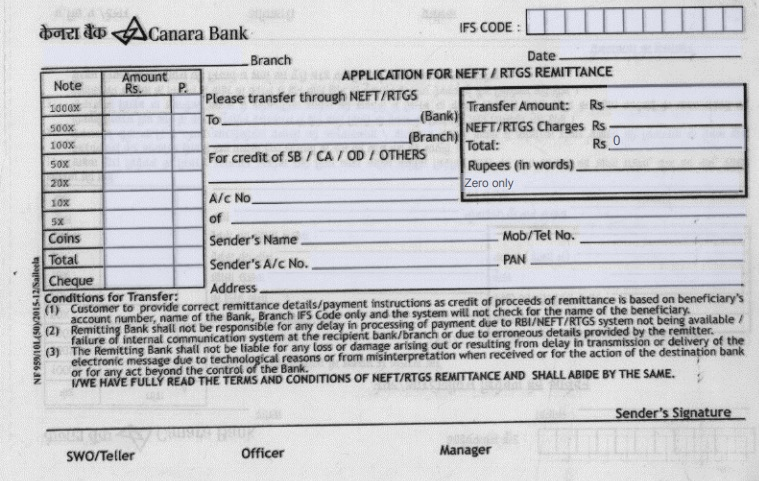 canara bank rtgs neft form pdf download