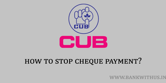 Stop Cheque Payment in City Union Bank