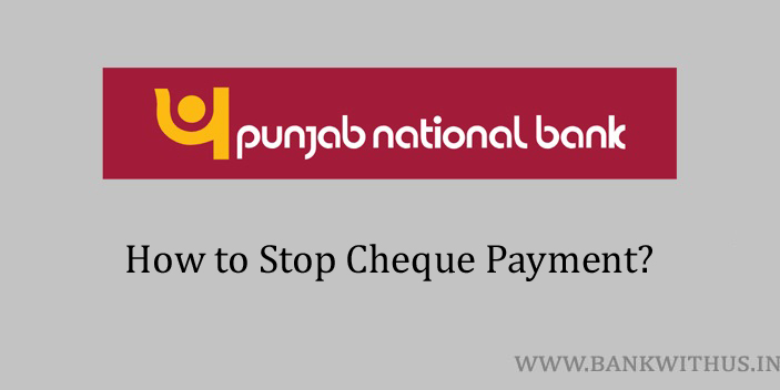 Stop Cheque Payment in PNB