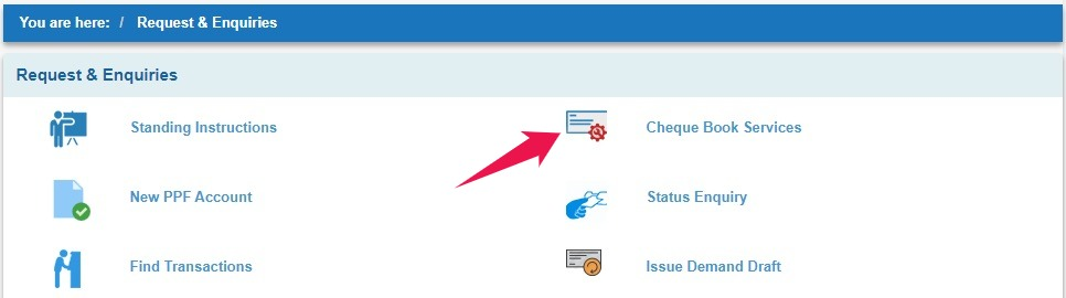 Click on Cheque Book Services in SBI Online