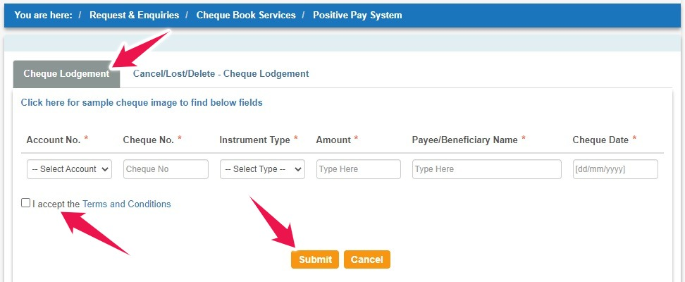 """Select Account Number, Enter Cheque Details, and Click on the """"Submit"""" button"""