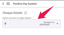 Select your SBI Bank account number for Positive Pay System